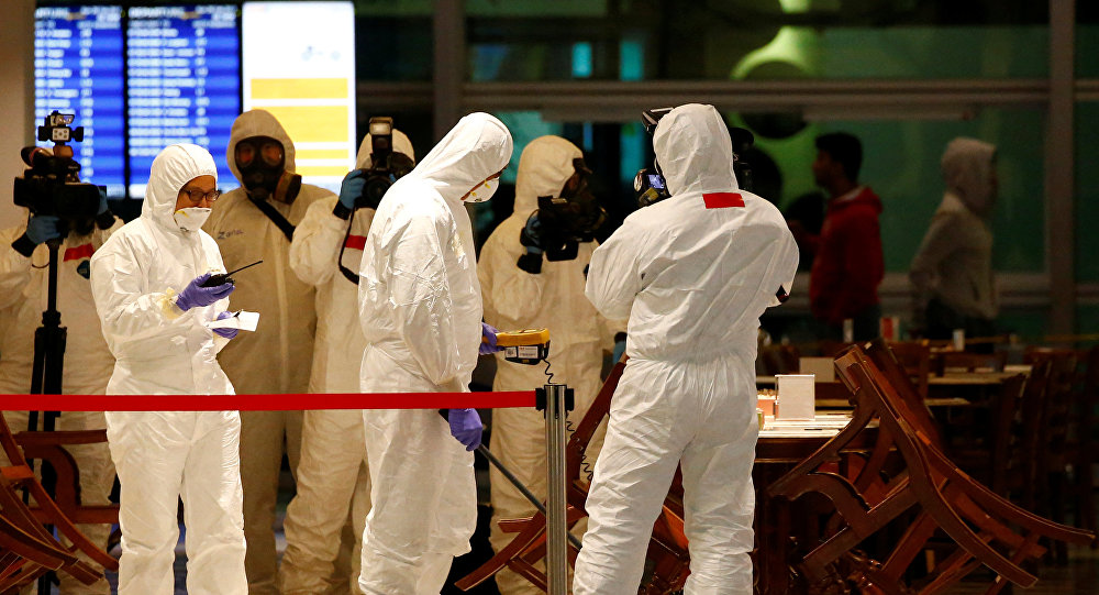 A Hazmat team conducts checks at KLIA2 airport terminal in Sepang