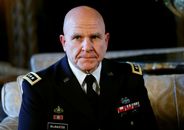 Newly named National Security Adviser Army Lt. Gen. H.R. McMaster listens as U.S. President Donald Trump makes the announcement at his Mar-a-Lago estate in Palm Beach, Florida U.S. February 20, 2017