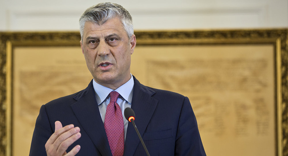 Kosovo President Hashim Thaci during a press conference in capital Pristina, Kosovo. File photo