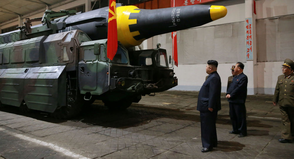 North Korean leader Kim Jong Un inspects the long-range strategic ballistic rocket Hwasong-12 (Mars-12) in this undated photo released by North Korea's Korean Central News Agency (KCNA) on May 15, 2017.
