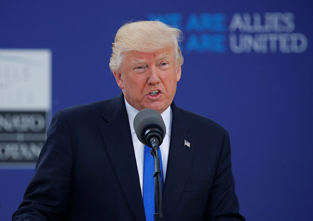 U.S. President Donald Trump speaks at the start of the NATO summit at their new headquarters in Brussels, Belgium, May 25, 2017