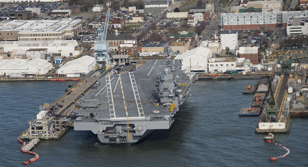The pre-commissioned USS Gerald R. Ford aircraft carrier is seen after a visit by US President Donald Trump in Newport News, Virginia