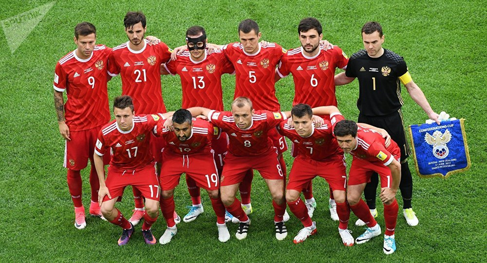 Russia team group before the match Russia v New Zealand - FIFA Confederations Cup Russia 2017 - Group A at the Saint Petersburg Stadium, Russia