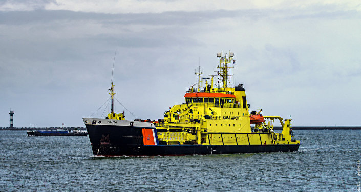 Coast guard ship, port of Rotterdam, Netherlands