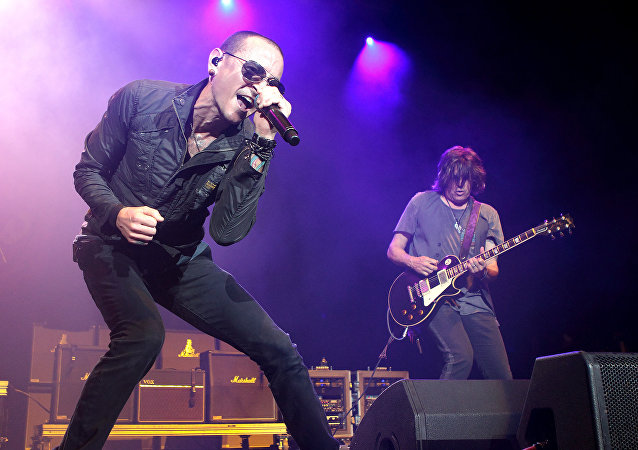 Chester Bennington, left, and Dean DeLeo of the band Stone Temple Pilots perform in concert during the MMRBQ Music Festival 2015 at the Susquehanna Bank Center on Saturday, May 16, 2015, in Camden, N.J.
