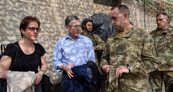 US special Ukraine envoy Kurt Volker and US Ambassador to Ukraine Marie Yovanovitch in Donbass, July 23, 2017