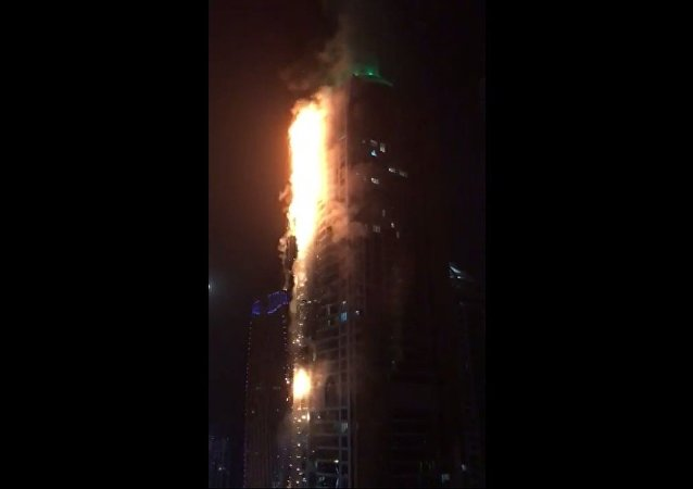 Dubai Torch Tower burning