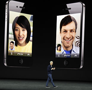 Apple CEO Tim Cook discusses the new iPhone 8 at the Steve Jobs Theater on the new Apple campus, Tuesday, Sept. 12, 2017, in Cupertino, California.