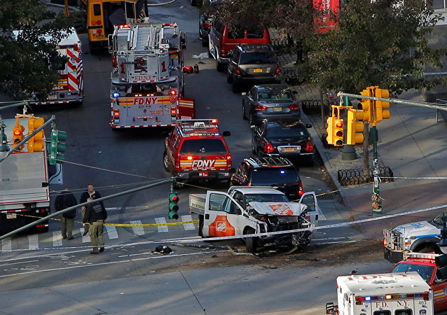 Police investigate a vehicle allegedly used in a ramming incident on the West Side Highway in Manhattan, New York, U.S., October 31, 2017.