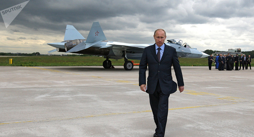 Prime Minister Vladimir Putin at the test if a T-50 fifth generation fighter