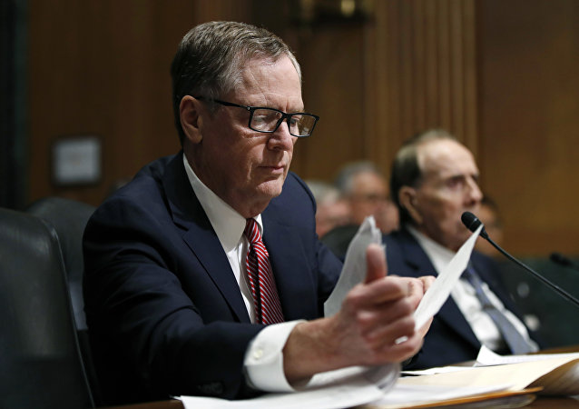 FILE - In this Tuesday, March 14, 2017, file photo, United States Trade Representative-nominee Robert Lighthizer, foreground, looks at documents during his confirmation hearing on Capitol Hill in Washington