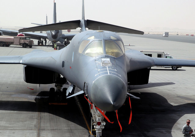 In this photo taken on March 9, 2015, a B-1 bomber is seen at the al-Udeid Air Base in Doha, Qatar
