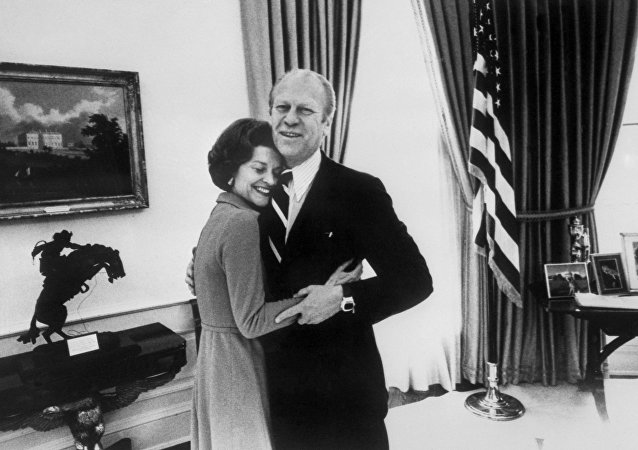 File picture showing late US Presidents Gerald Ford hugging his wife Betty at the White House, in Washington, 30 December 1974